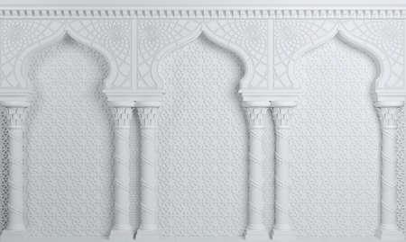illustration 3D. Palais d'arcade oriental blanc dans le style arabe.