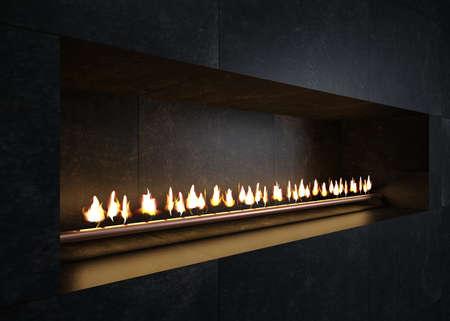 Modern minimalistic gas fireplace for loft