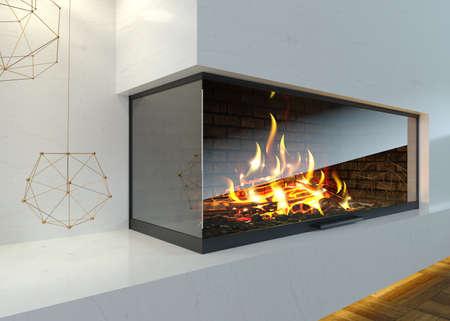 Modern glass corner fireplace in the interior