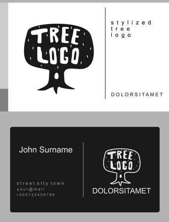 Vector emblem stylized oak tree or plant. Logo sign and symbol. Cartoon drawing tree