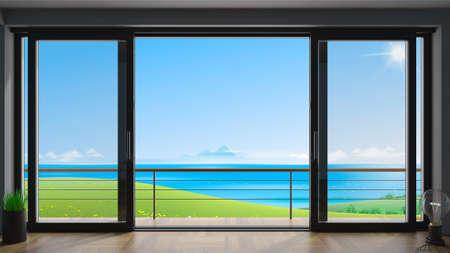 Sliding window villa with sea view Stock fotó
