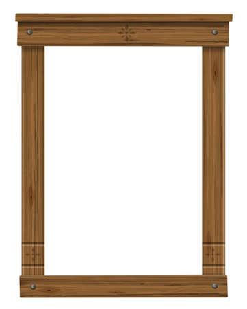 Wooden antique window or door frame Foto de archivo - 123535615