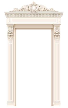Classic white architectural door facade frame Illusztráció
