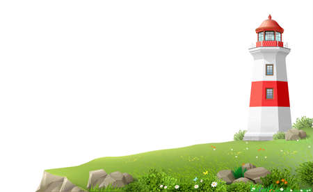 Realistic lighthouse on a green hill above the sea. Wide banner or Wallpaper. Vector illustration.
