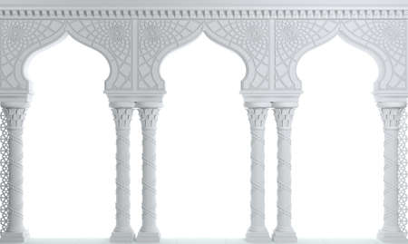 3d illustration. White Oriental arcade palace in the Arab style.