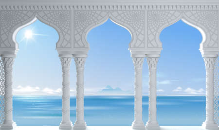 3d illustration. White Oriental arcade sea palace in the Arab style. Stock Photo