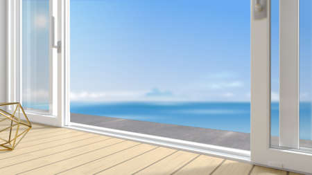 Sliding exterior door with two white shutters. Species panoramic window and terrace. 3d Illustration 写真素材