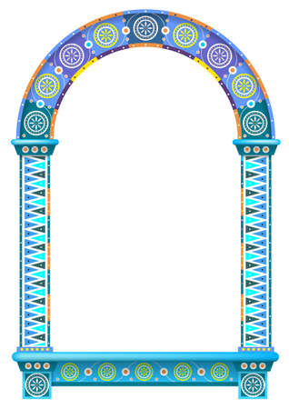 The Eastern arch of the mosaic. Carved architecture and classic columns. Indian arabic russian style. Decorative architectural frame in vector graphics.
