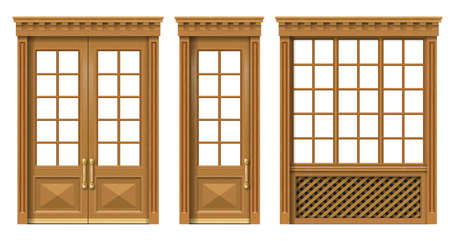 Vector. A set of classic wooden doors and windows. Templates for design. Joiner's vintage and furniture Vectores