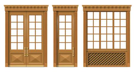 Vektor. Ein Satz klassischer Holztüren und -fenster. Vorlagen für die Gestaltung. Tischler Vintage und Möbel