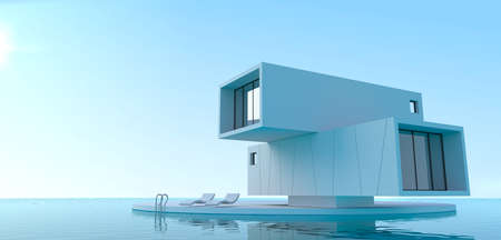 3d illustration. Concept minimalism villa on the sea. House of containers. Pool
