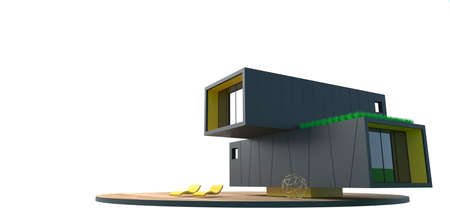 3d illustration. Modern container villa on a white background. Concept minimalism architecture