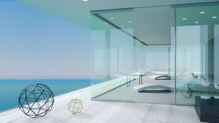 3d illustration. Terrace modern sea villas. Glass walls and sliding door windows. Minimalism