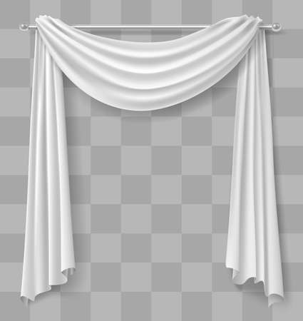 Curtain drapery for the window is white. Vector graphics. Transparent shadow