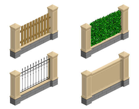 Set of stone fences, borders and walls in an isometric view. Mesh, barbed wire, green. Vector graphics Illusztráció