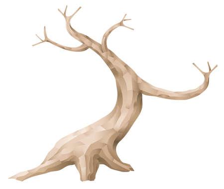 Decorative bark of a bonsai tree. Floristry trunk. Branch. Vector