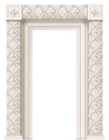 Classic architectural window or door facade decor for the frame. Set of vector elements. Transparent shadow. Illusztráció