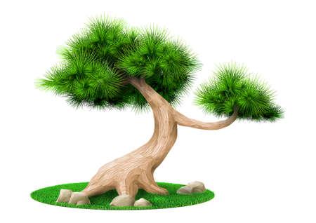 Vector graphics. Decorative bonsai tree pine isolated. Landscape Japanese eco design Stock fotó