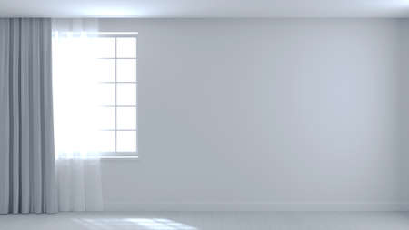3d illustration. Background empty white room and wall beam from window. Apartment house