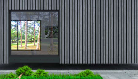 3d illustration. The facade of a modern villa from the board. Cottage in the forest. Panoramic window 写真素材