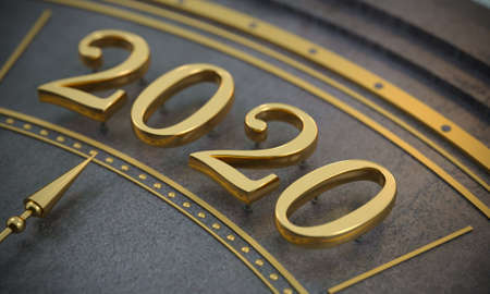 3d illustration. Golden number 2020 close-up. New Year. Background or postcard. Jewelry. Watch dial or calendar