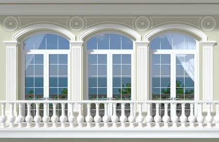 3d illustration. Facade of a classic room with arched windows and a view of the sea.