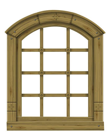 Antique wooden arched window fantasy scandinavian gothic Illustration