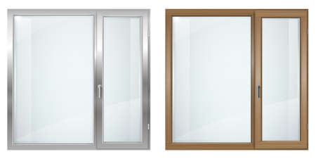 Modern wooden and gray plastic wide window  イラスト・ベクター素材