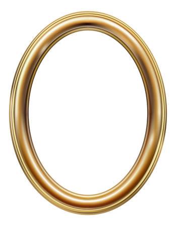 Marco de imagen dorado clásico ovalado Ilustración de vector