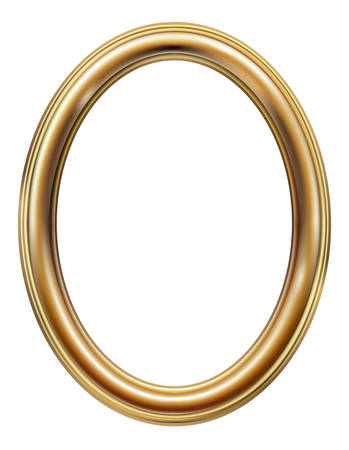Oval classic golden picture frame Banque d'images - 135774168