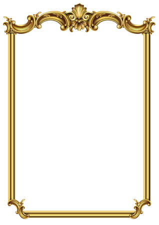 Gold classic frame of the rococo baroque Illustration
