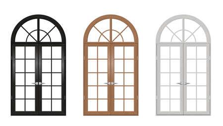 Set klassieke gebogen houten deuren voor een balkon. Deuren in verschillende kleuren. vectorafbeeldingen