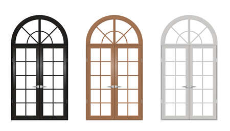 Set of classic arched wooden doors for a balcony. Doors of different colors. Vector graphics Illustration