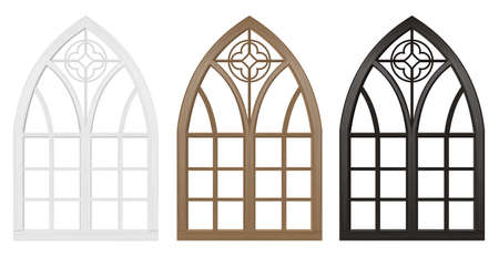Realistic Gothic medieval stained glass window and stone arch with a shadow. Transparent shadow. Background or texture. Architectural element Illustration