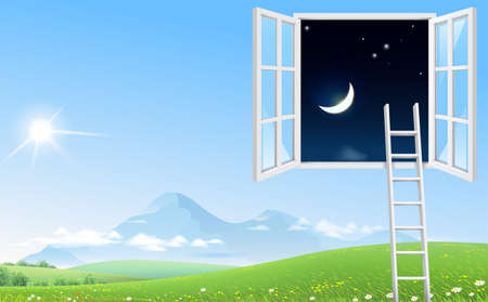 Concept picture window and staircase in the night sky. Landscape landscape mountains sky and hills. Green grass and flowers  イラスト・ベクター素材