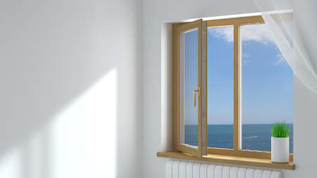 3d illustration. The open wooden modern plastic window in the room .