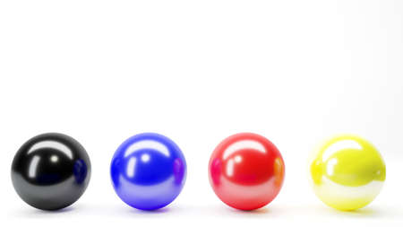 3d illustration. Four balls red blue yellow black gray. Color gradient or exposure 写真素材