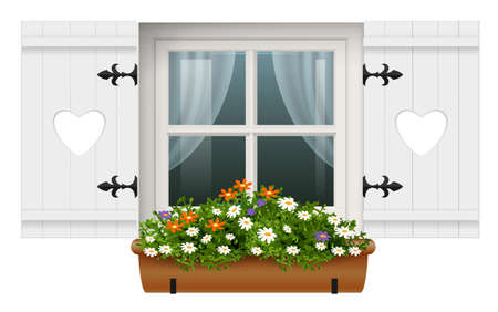 Vintage european wooden window with shutters and hanging flower garden. The old house. Room