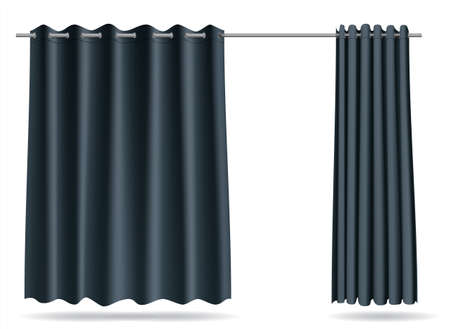 Vector graphics . A set of gray curtains for changing rooms lockers for the store, hospital