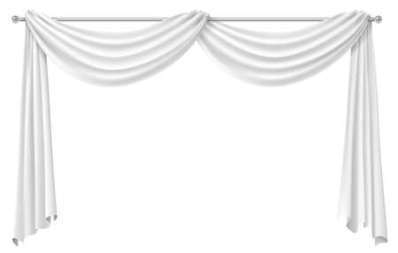 Curtain white drapery for the window . Vector graphics. Transparent shadow