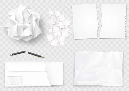 Set aus verschiedenen zerknitterten und zerrissenen Papierblättern. Bleistift gebrochen. Vektorgrafiken.