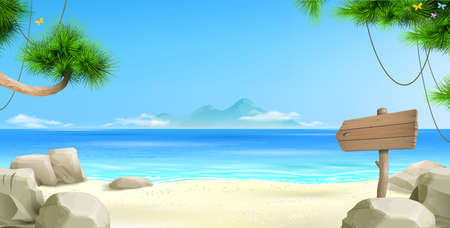 Vector clipart. Wide tropical beach banner background. Landscape nature. Resort