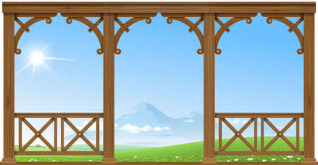 Wooden old porch overlooking the hills and mountains. Natural landscape. House or hotel