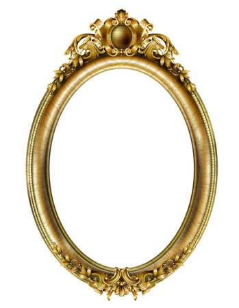 Marco barroco rococó clásico ovalado dorado. Gráficos vectoriales. Marco de lujo para pintar o cubrir una postal. Ilustración de vector