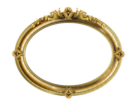 Cadre baroque rococo classique ovale doré. Graphiques vectoriels. Cadre de luxe pour peinture ou couverture de carte postale Vecteurs
