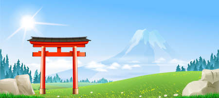 Japanese landscape with tori gate. Fuji on the horizon. Background banner wallpaper