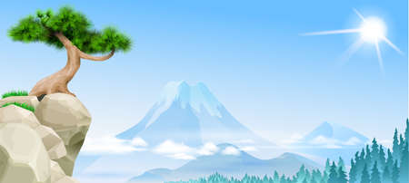 Japanese landscape with mountain pine on a cliff. Fuji on the horizon. Background banner wallpaper