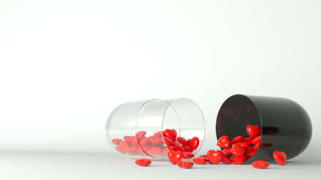 3d illustration. Medical pill with red hearts. Concept postcard