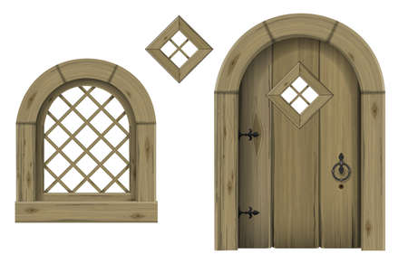 Ancient wooden arched door fantasy scandinavian gothic. Vector graphics. The ancient hut. Texture
