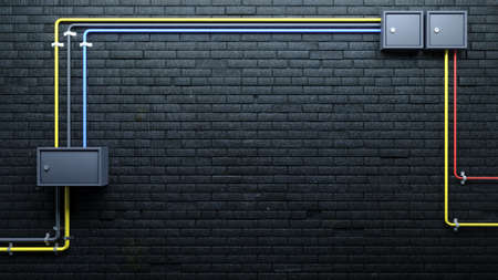 3d illustration. Old black brick wall and communications. Electricity and water pipes. Background banner